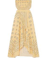 Miguelina - Ines Cutout Printed Linen Midi Dress - Lyst