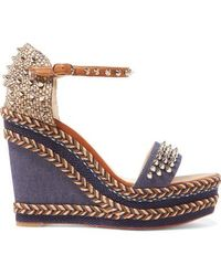 Christian Louboutin - Madmonica 110 Spiked Denim And Leather Espadrille Wedge Sandals - Lyst