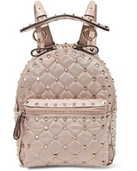 Valentino - Garavani The Rockstud Spike Leather-trimmed Quilted Satin-twill Backpack - Lyst