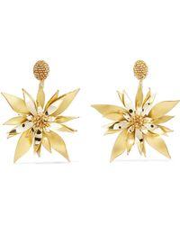 Oscar de la Renta - Starfish Flower Beaded Pvc Clip Earrings - Lyst