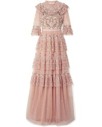 Needle & Thread - Paradise Tiered Embroidered Tulle Gown - Lyst