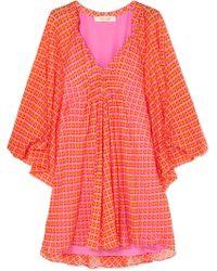 Diane von Furstenberg - Fleurette Printed Silk-crepon Mini Dress - Lyst