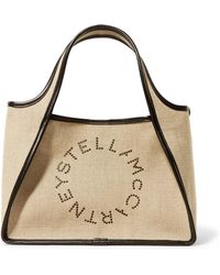 Stella McCartney - Faux Leather-trimmed Perforated Canvas Tote - Lyst