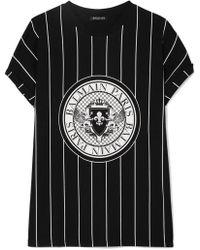 Balmain - Printed Cotton-jersey T-shirt - Lyst