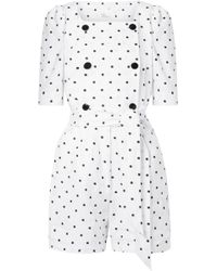 Lisa Marie Fernandez - Diana Double-breasted Embroidered Polka-dot Linen Playsuit - Lyst