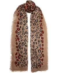 Fendi - Fringed Leopard-print Modal And Silk-blend Voile Scarf - Lyst