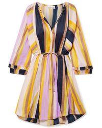 a0577c65c1e95 Apiece Apart - La Flutte Striped Linen And Silk-blend Mini Dress - Lyst