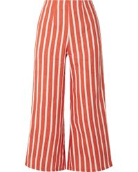 Faithfull The Brand - Tomas Cropped Striped Linen Wide-leg Trousers - Lyst