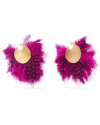 Katerina Makriyianni - Fringed Gold-plated Feather Earrings - Lyst