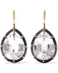 Fred Leighton - Collection 18-karat Gold, Sterling Silver And Topaz Earrings Gold One Size - Lyst