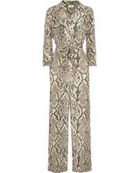 L'Agence - Teddy Snake-print Silk Crepe De Chine Jumpsuit - Lyst