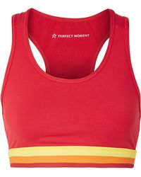 Perfect Moment - Cutout Striped Stretch Sports Bra - Lyst