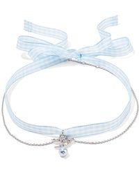 Miu Miu | Gingham Cotton, Silver-tone, Crystal And Faux Pearl Choker | Lyst