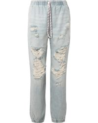 Alexander Wang - Distressed Low-rise Tapered Jeans - Lyst