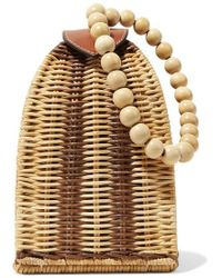 Ulla Johnson Raya Leather-trimmed Rattan Clutch - Natural