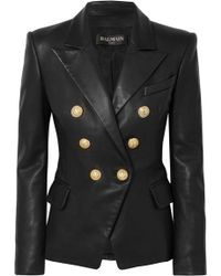 Balmain - Double-Breasted Shearling Jacket - Lyst