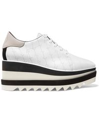 Stella McCartney - Elyse Logo-perforated Faux Leather And Suede Platform Brogues - Lyst