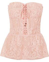 Dolce & Gabbana - Lace Bustier Peplum Top - Lyst