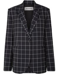 Monse - Lace-up Checked Wool-crepe Blazer - Lyst