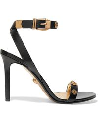 Versace - Embellished Leather Sandals - Lyst
