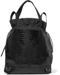 Elizabeth and James | Keely Croc-effect Glossed-leather And Shell Backpack | Lyst
