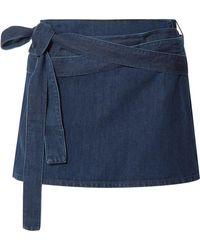 J.W.Anderson - Leather-trimmed Denim Mini Skirt - Lyst