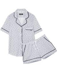 DKNY - Printed Cotton-blend Jersey Pyjama Set - Lyst