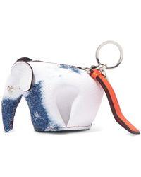 Loewe - Elephant Leather-trimmed Denim Bag Charm - Lyst