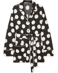 Dolce & Gabbana - Belted Polka-dot Silk-blend Satin Top - Lyst