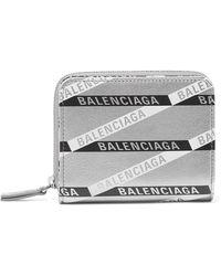 Balenciaga - Everyday Printed Metallic Textured-leather Wallet - Lyst