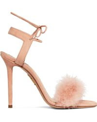Charlotte Olympia | Salsa Feather-trimmed Suede Sandals | Lyst