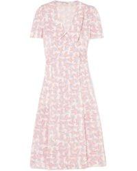 Miu Miu | Floral-print Silk Crepe De Chine Wrap Dress | Lyst
