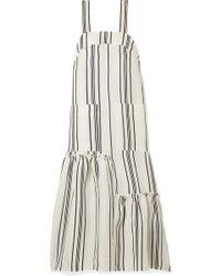 Apiece Apart - Senecio Striped Linen And Silk-blend Midi Dress - Lyst