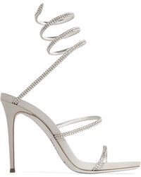 Rene Caovilla | Crystal-embellished Metallic Leather Sandals | Lyst