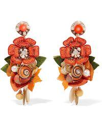 Ranjana Khan - Helios Gold-tone And Silk Multi-stone Clip Earrings - Lyst