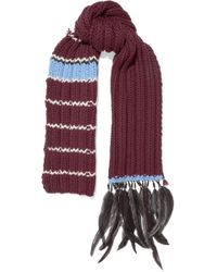 Prada - Feather And Bead-trimmed Striped Wool Scarf - Lyst