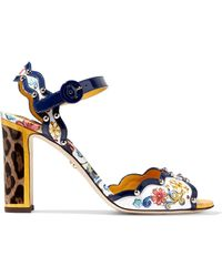 Dolce & Gabbana - Studded Printed Patent-leather Sandals - Lyst