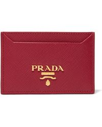 Prada - Textured-leather Cardholder - Lyst