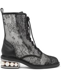 Nicholas Kirkwood | Casati Embellished Lace And Leather Boots | Lyst