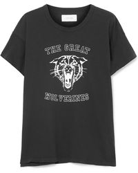 The Great - The Boxy Crew Distressed Printed Cotton-jersey T-shirt - Lyst