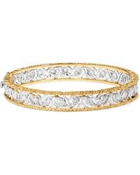 Buccellati - Ramage 18-karat White And Yellow Gold Diamond Bangle - Lyst