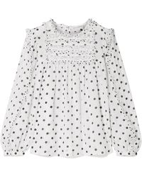 Ulla Johnson - Bailey Lace And Tulle Trimmed Polka-dot Voile Blouse - Lyst