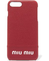 Miu Miu - Printed Textured-leather Iphone 8 Plus Case - Lyst