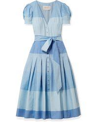 Carolina Herrera - Pleated Striped Cotton Midi Dress - Lyst