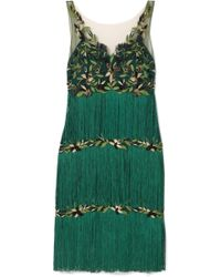 Marchesa notte - Fringed Embroidered Tulle Dress - Lyst