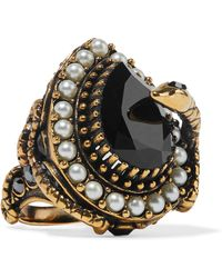 Alexander McQueen - Gold-plated, Faux Pearl And Swarovski Crystal Ring - Lyst