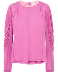 Chloé - Ruched Satin-jersey Top - Lyst