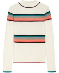 TOME - Striped Ribbed Merino Wool Turtleneck Jumper - Lyst