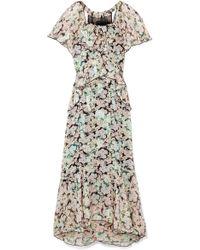 Anna Sui - Night Bloom Printed Fil Coupé Silk-blend Chiffon Midi Dress - Lyst