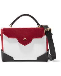 MANU Atelier - Bold Color-block Leather And Suede Shoulder Bag - Lyst